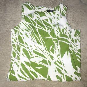 Green and White Leaf Print Work Dress